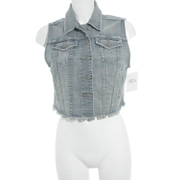 Silver Jeans Gilet en jean blanc cassé-bleu clair style seconde main