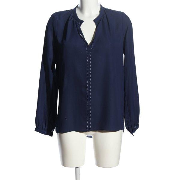Single Langarm-Bluse blau Business-Look