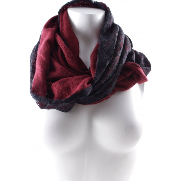 Six Schlauchschal schwarz-karminrot florales Muster Street-Fashion-Look