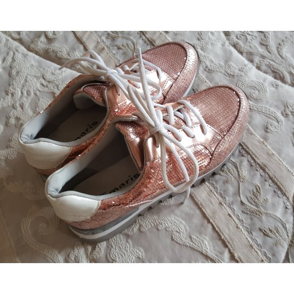 Sneaker mit Pailletten, goldfarben, Gr. 38 von Tamaris