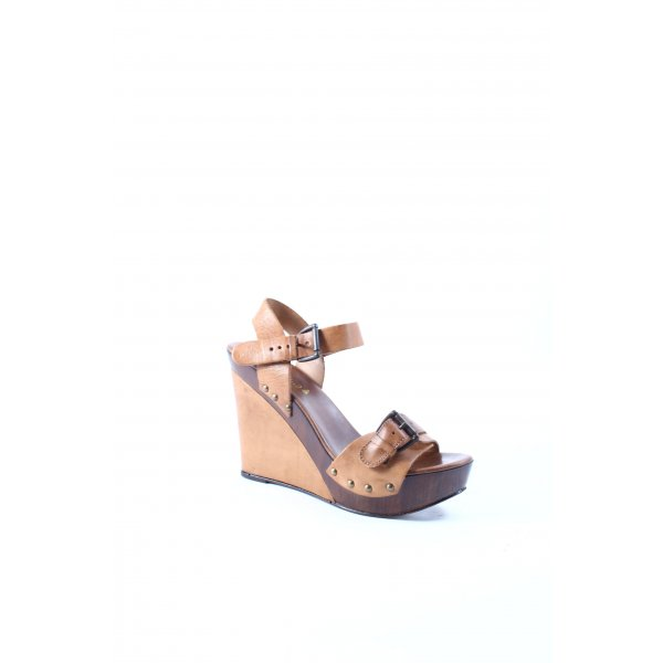 Sommerkind Wedges Sandaletten braun-dunkelbraun Materialmix-Look