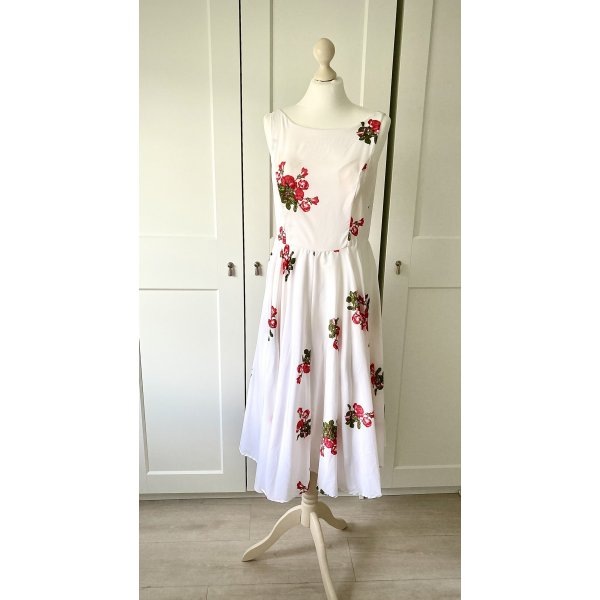 Sommerkleid Antica Sartoria Gr 38 weiß, rot grün geblümt