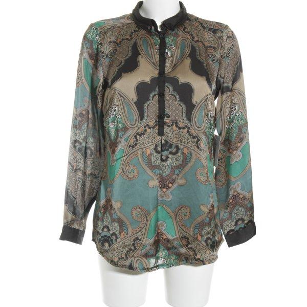 Soyaconcept Langarm-Bluse florales Muster Glanz-Optik