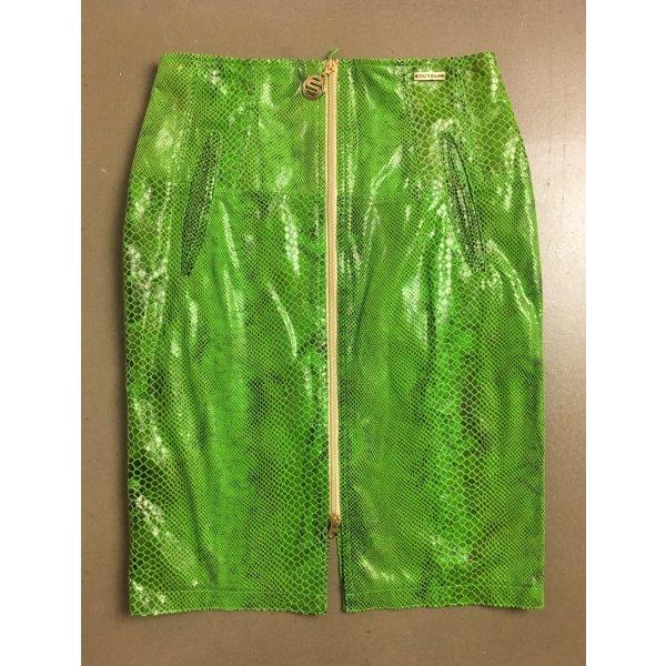 * SPORTALM * Mini Rock hellgrün Leder (imitat) Schlange Reißverschlüsse Gr 38