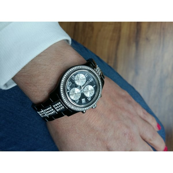 Jette Joop Montre avec bracelet métallique noir-argenté