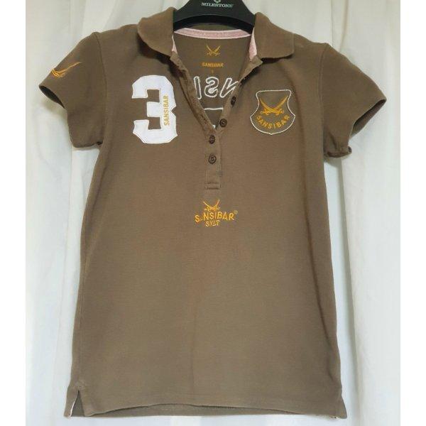 Sportlich-stylisches Sansibar Polo-Shirt in einem schönen Khakiton in Größe S
