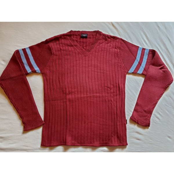 sportlicher Strick-Pullover mit V-Ausschnitt