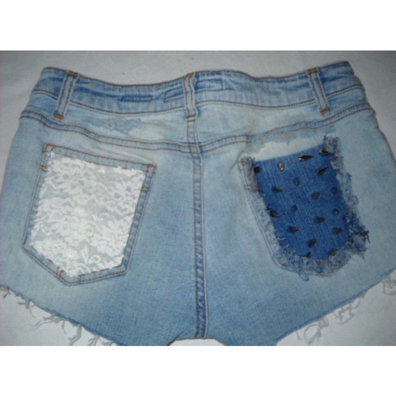 Stachel Nieten Spitze Hot Pants Shorts Destroyed Jeans blau 34 36 38 XS S H M