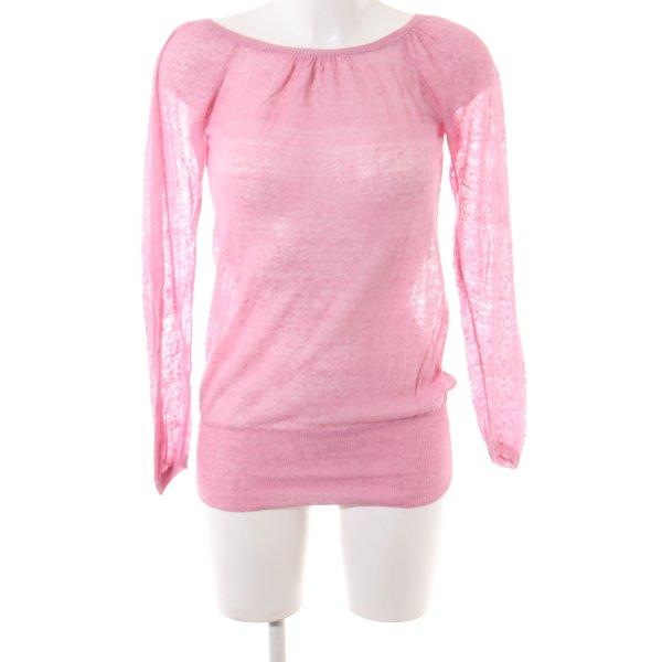 Stefanel Rundhalspullover pink meliert Casual-Look