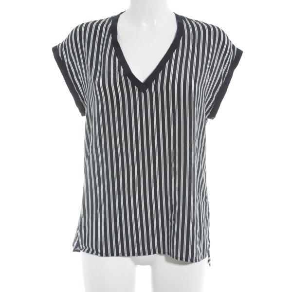 Stefanel T-Shirt dunkelblau-wollweiß Streifenmuster sportlicher Stil