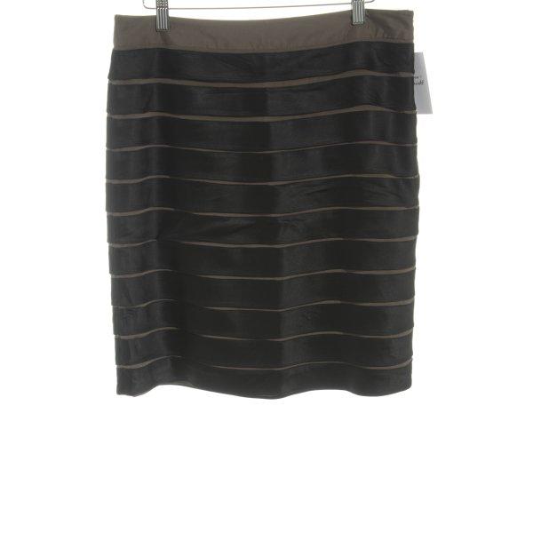 Steffen Schraut Minirock schwarz-graubraun Streifenmuster Elegant