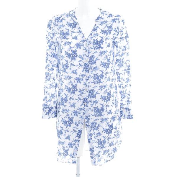 Stile Benetton Blouse longue blanc-bleu motif floral style décontracté