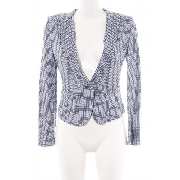 Stile Benetton Sweatblazer blau-weiß Allover-Druck Business-Look