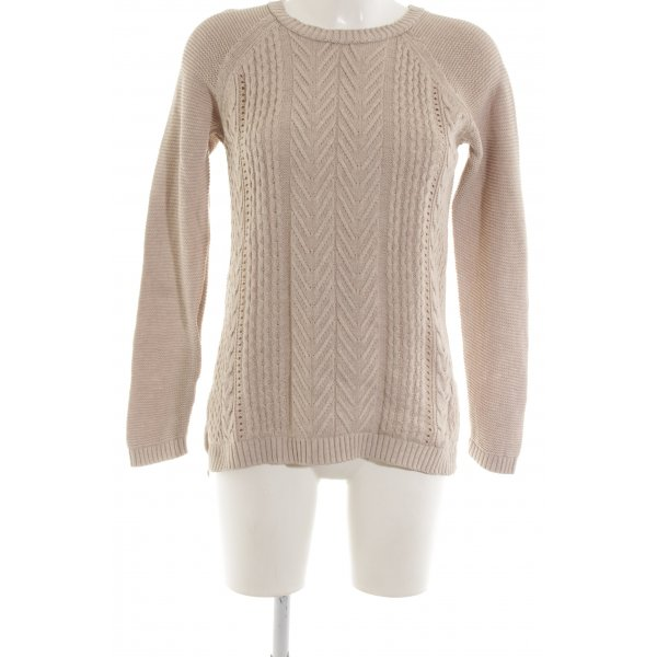 Stradivarius Zopfpullover wollweiß Zopfmuster Casual-Look