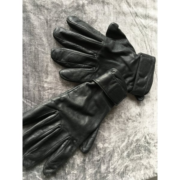 Strenesse Blue Guantes con dedos negro Cuero