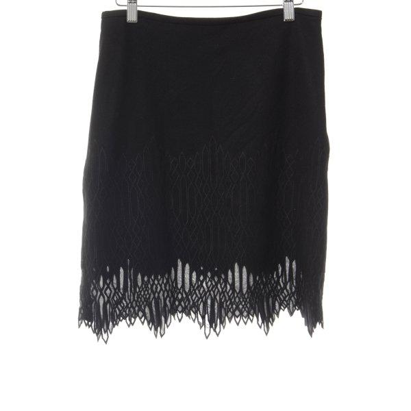 Strenesse Wollen rok zwart abstract patroon elegant