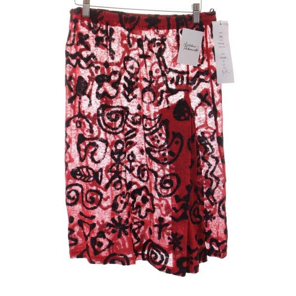 Jupe tricotée rouge-noir motif abstrait style décontracté