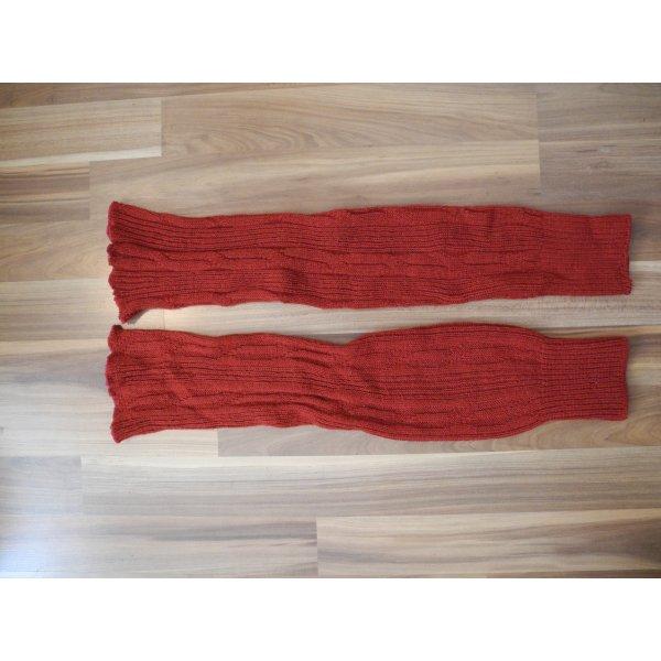 Strickstulpen rot zopfmuster extralang overknees strick Übergang wolle yoga ballett kuschelig warm wadenwärmer beinwärmer Stulpen