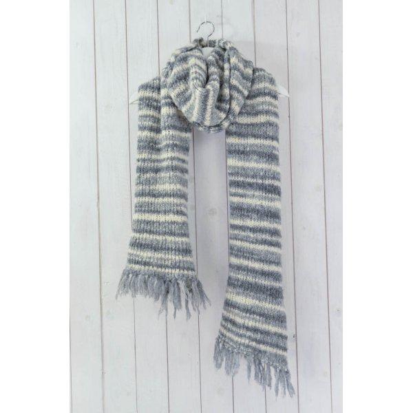 STYLE BUTLER Wollschal Schal Winter Grobstrick Wolle Polyacryl Grau Ecru Fransen