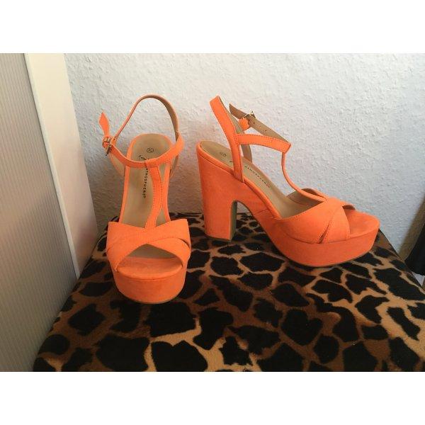süße neon orange Sommer Sandalette