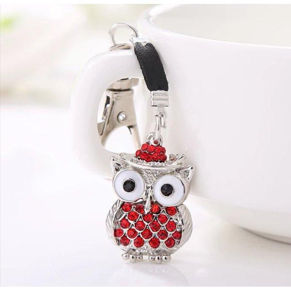 Süße Schlüssel-/Taschenanhänger Eulen Silber rot Strass NEU