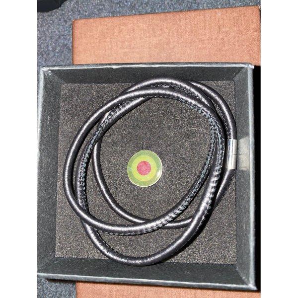 süßer Anhänger mit schwarzem Lederband neu Modeschmuck sowohl als Kette &Armband tragbar