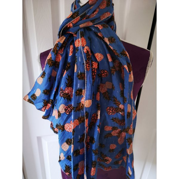 Süßer Schal aus Baumwolle Ananas blau Orange NEU