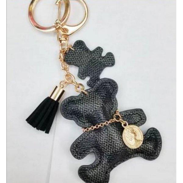 süßer Schlüssel-/Taschenanhänger Bär schwarz grau golden mit Kette NEU