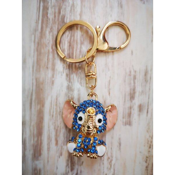 süßer Schlüssel -/Taschenanhänger Elefant blau Strass glitzer NEU!
