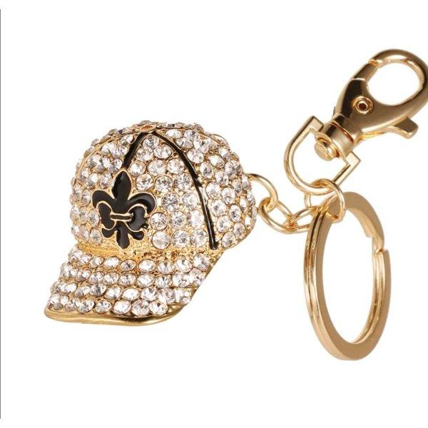 Süßer Schlüssel- /Taschenanhänger glitzer, gold Basecap aus Metall NEU