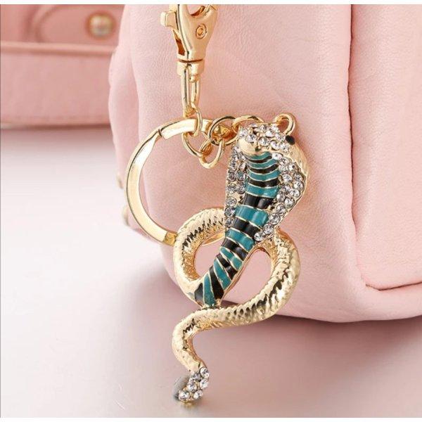 Süßer Schlüssel- /Taschenanhänger glitzer, golden Schlange Kobra aus Metall NEU