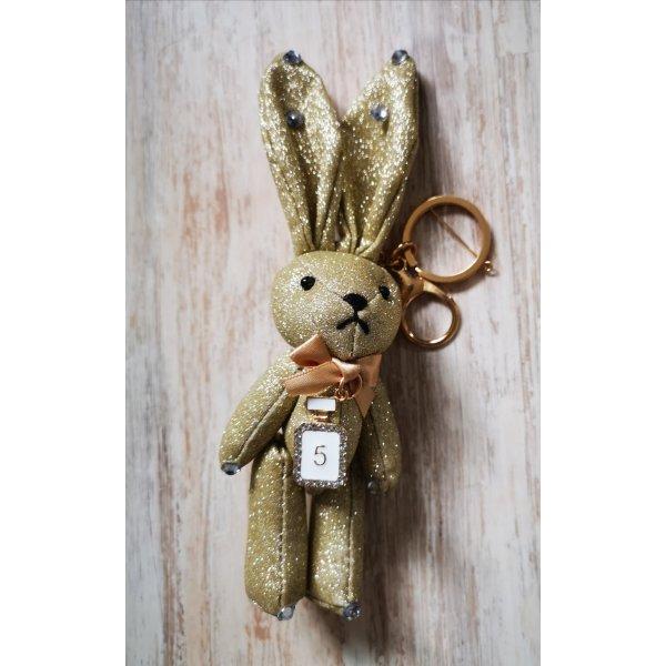 süßer Schlüssel-/Taschenanhänger glitzer Hase No 5, gold aus Stoff NEU