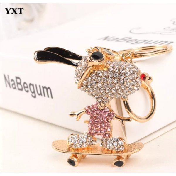 Süßer Schlüssel- /Taschenanhänger Snoopy Gold rosa Strass Metall *NEU*