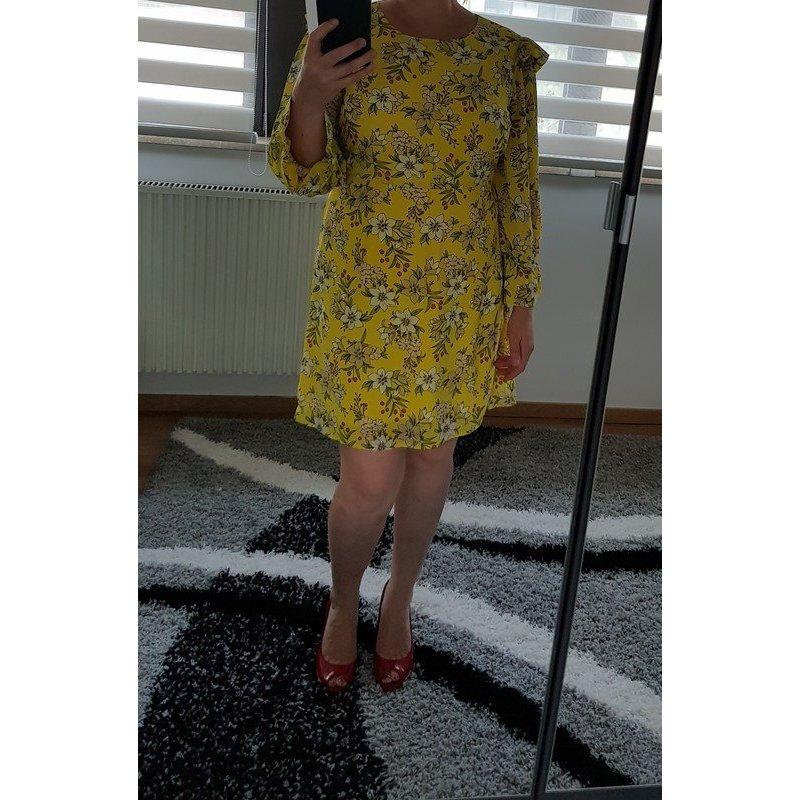 Süßes Kleid mit Blümchen  XL (42) Vero Moda Rüschen Minikleid NEU Langarm gelb