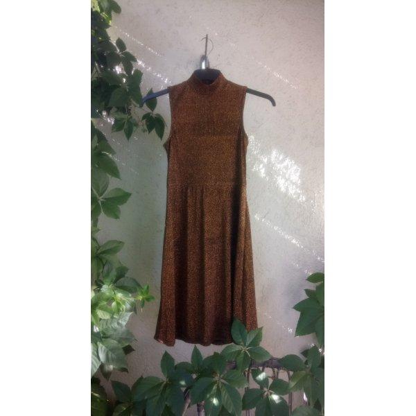 Edited Vestido strapless negro-color oro Nailon