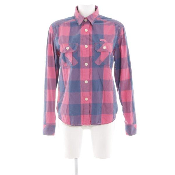 Superdry Langarmhemd pink-blau Allover-Druck Casual-Look