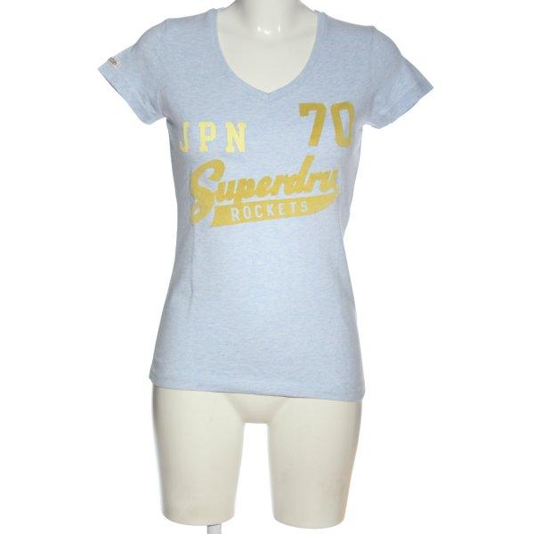 Superdry T-Shirt blau-blassgelb meliert Casual-Look