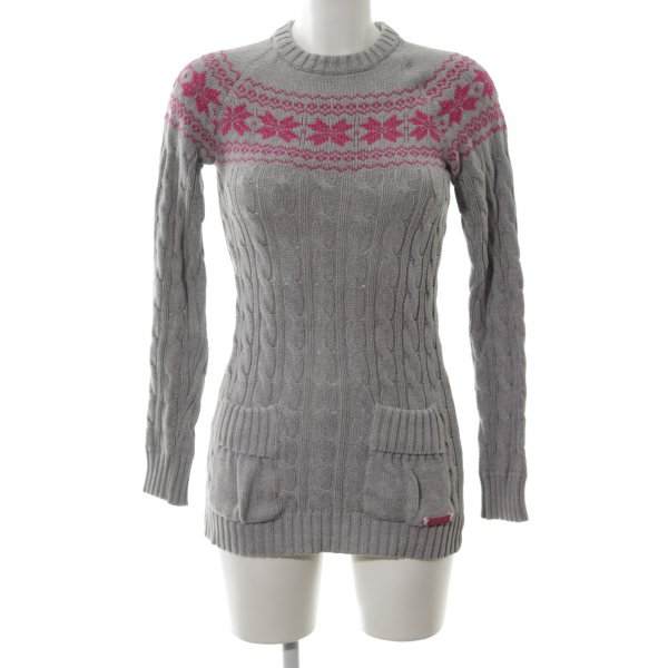Superdry Zopfpullover hellgrau-pink grafisches Muster Casual-Look