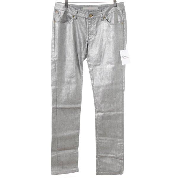 Superfine Boot Cut Jeans silberfarben Glanz-Optik