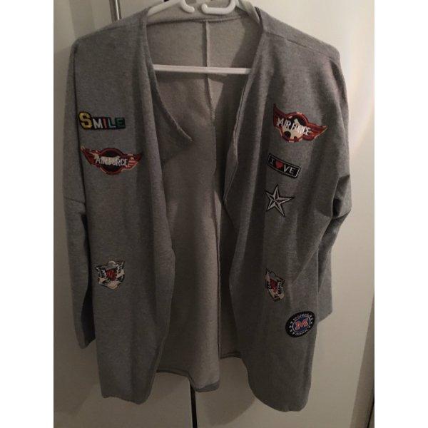 Sweat Jacke mit Patches ( grau ) von Made in italy