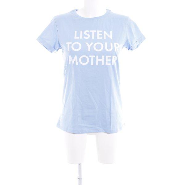 T-Shirt himmelblau Motivdruck Casual-Look