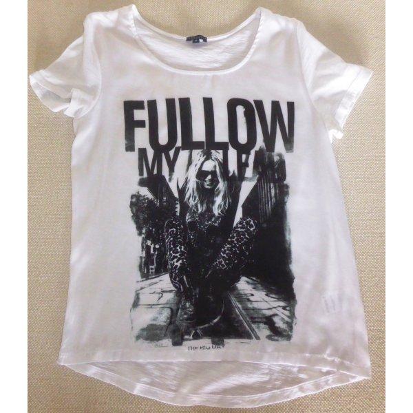 T-Shirt in Weiß mit Aufdruck in Schwarz
