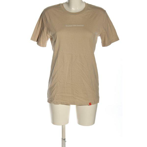 T-Shirt nude-wollweiß Schriftzug gedruckt Casual-Look