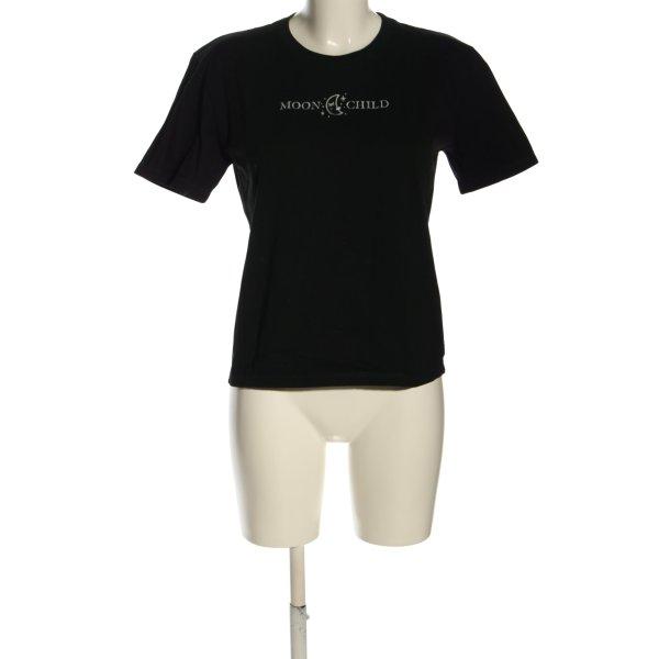 T-Shirt schwarz-wollweiß Schriftzug gedruckt Casual-Look