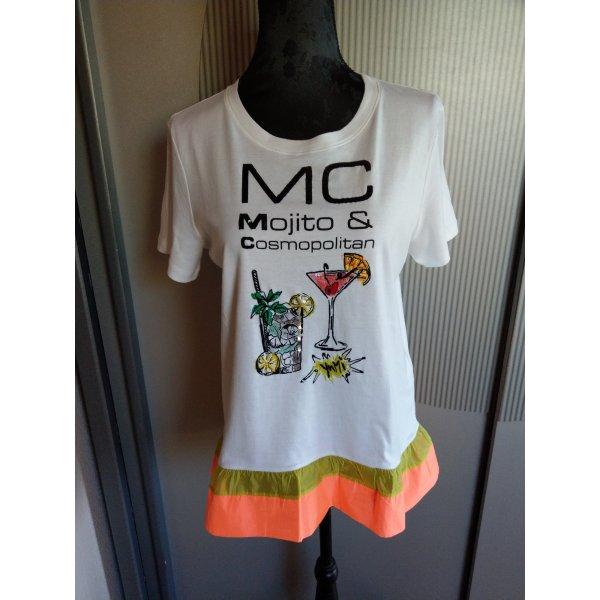 T-Shirt weiß orange Khaki Pailletten neu Marc Cain