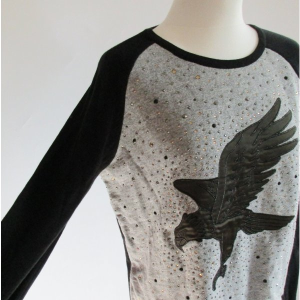 Taifun Pullover S 36 Schwarz Grau Stickerei Adler Vogel Raglan Sweat Strick Satin Strass Glitzer Applikation