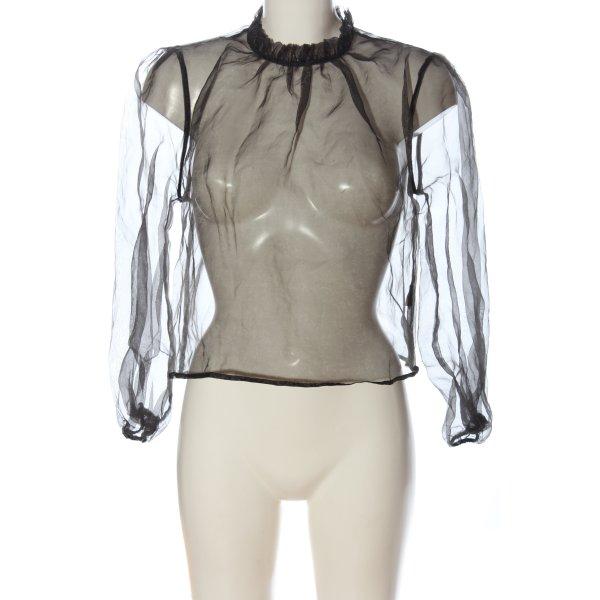 Tally Weijl Transparenz-Bluse schwarz Webmuster Casual-Look