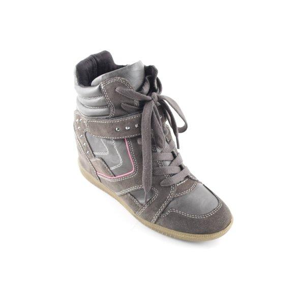 Tamaris High Top Sneaker graubraun-neonpink Casual-Look