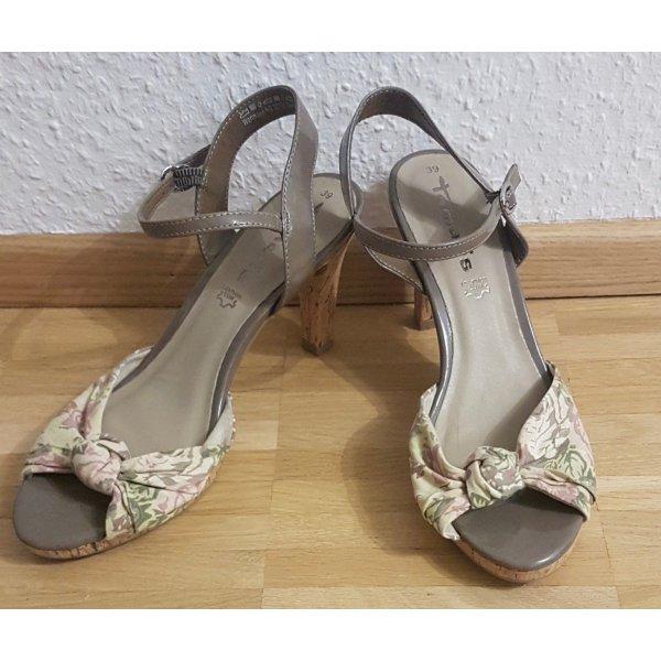 Tamaris Strapped High-Heeled Sandals grey brown