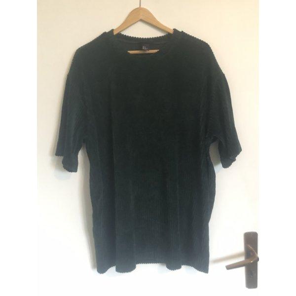 Tannengrünes Cord T-Shirt von H&M Oversized in Größe XL